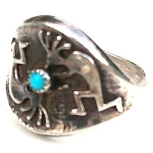 VINTAGE Native American 925 Silver Turquoise Ring